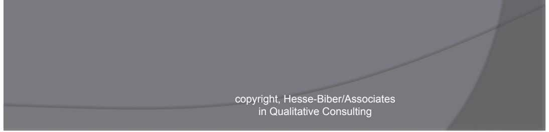 Retrieval of text segments by codes or combinations of codes copyright, Hesse-Biber/Associates in Qualitative Consulting