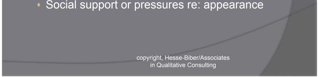   Social support or pressures re: appearance copyright, Hesse-Biber/Associates in Qualitative Consulting