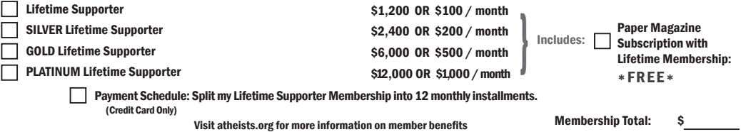 Lifetime Supporter $1,200 OR $100 / month SILVER Lifetime Supporter $2,400 OR $200 / month
