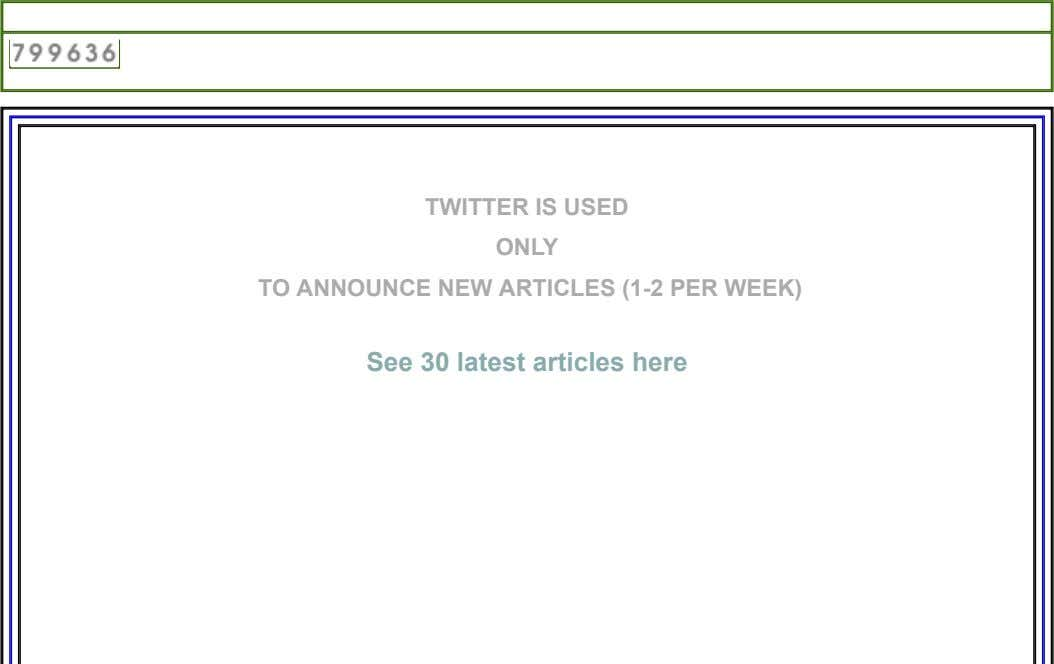 TWITTER IS USED ONLY TO ANNOUNCE NEW ARTICLES (1­2 PER WEEK) See 30 latest articles here
