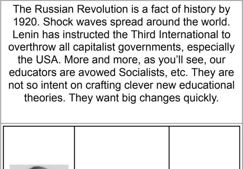 The Russian Revolution is a fact of history by 1920. Shock waves spread around the world.