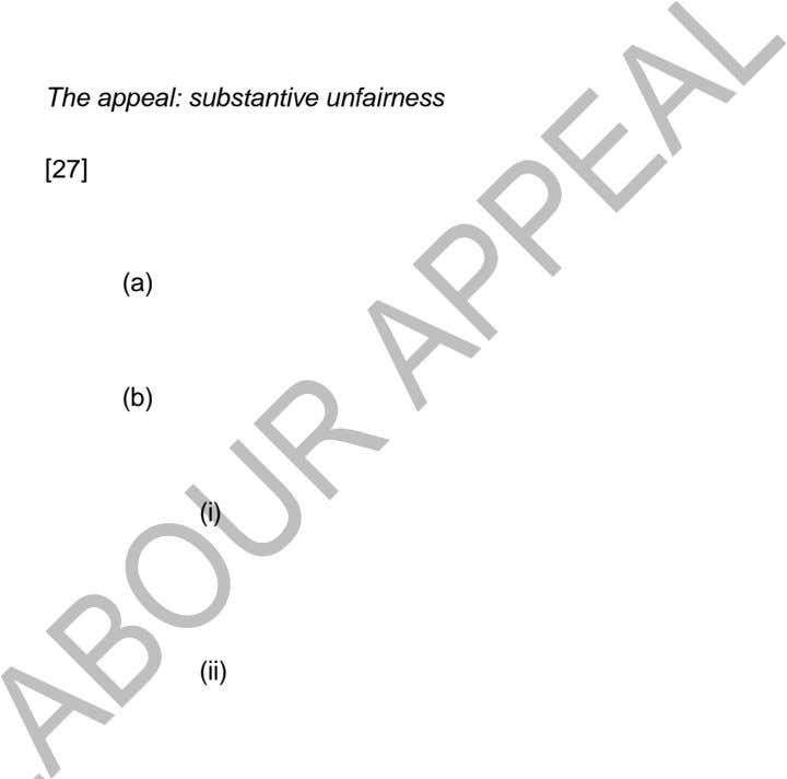 The appeal: substantive unfairness [27] (a) (b) (i) (ii)