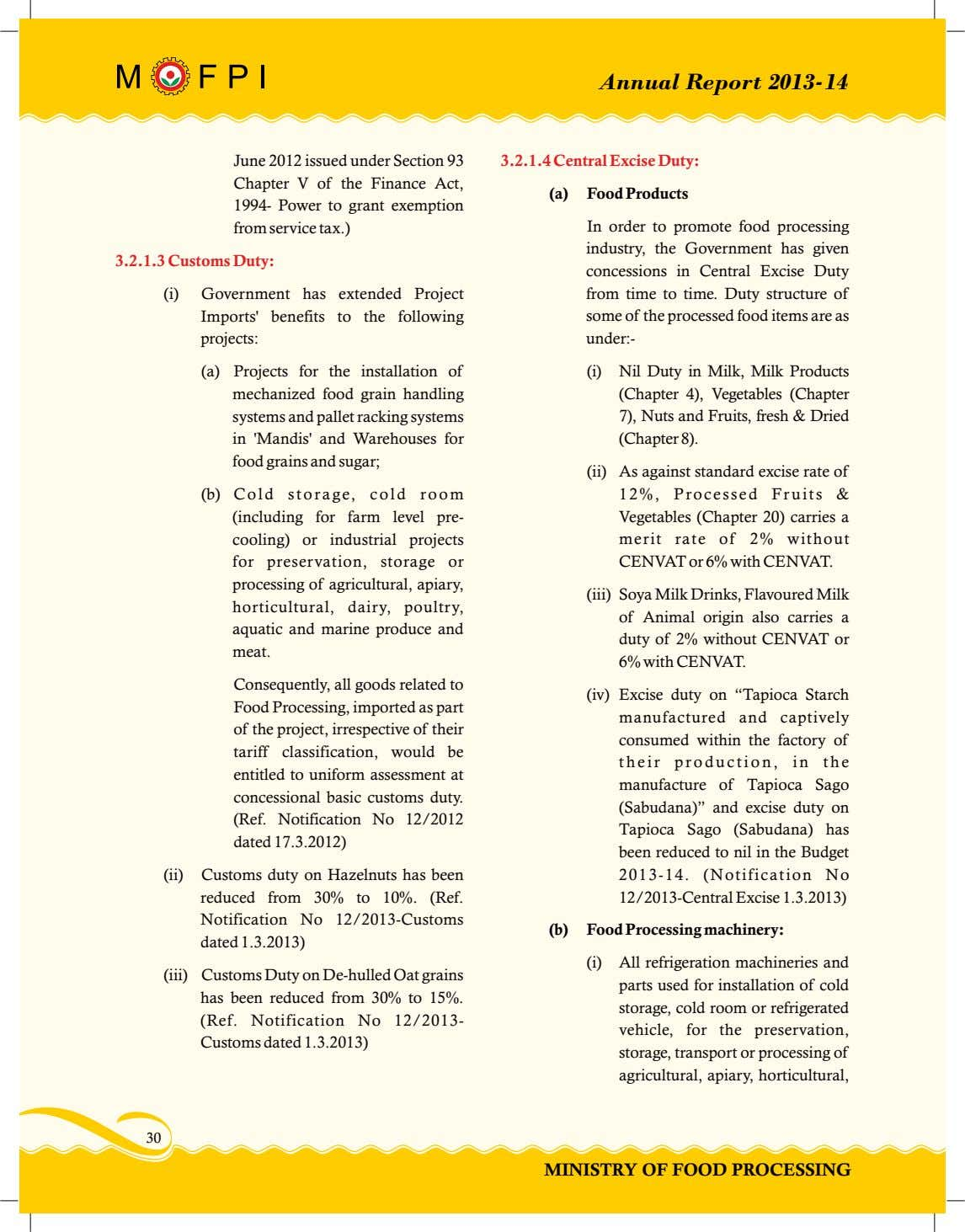 Annual Report 2013-14 June 2012 issued under Section 93 3.2.1.4 Central Excise Duty: Chapter V