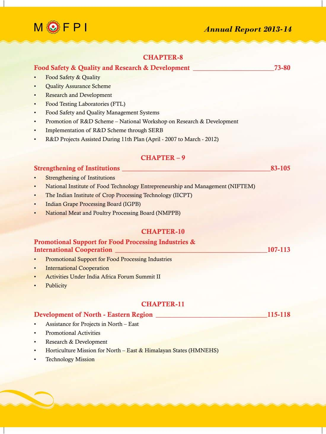 Annual Report 2013-14 CHAPTER-8 Food Safety & Quality and Research & Development 73-80 • Food