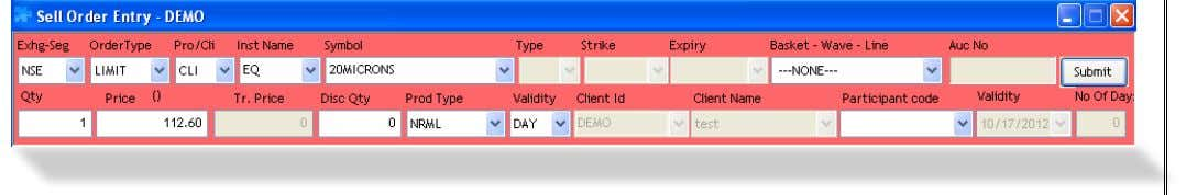 Buy Order: Select the scrip in you wish to place a Buy Order. treme Trader Click