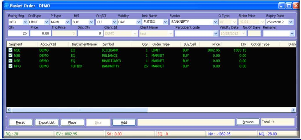 Basket Orders: treme Trader Click on Orders and Trades and then click on Basket Orders and