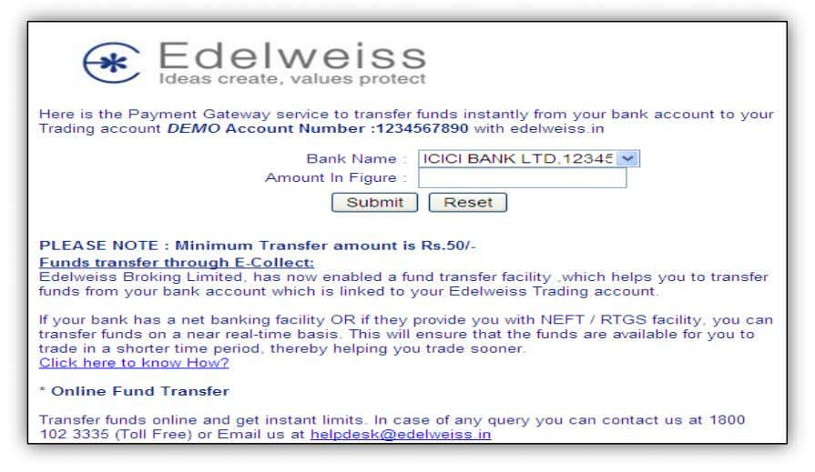 Funds Transfer: Payin treme Trader ( How do I transfer funds to my trading account through
