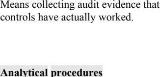 Means collecting audit evidence that controls have actually worked. Analytical procedures