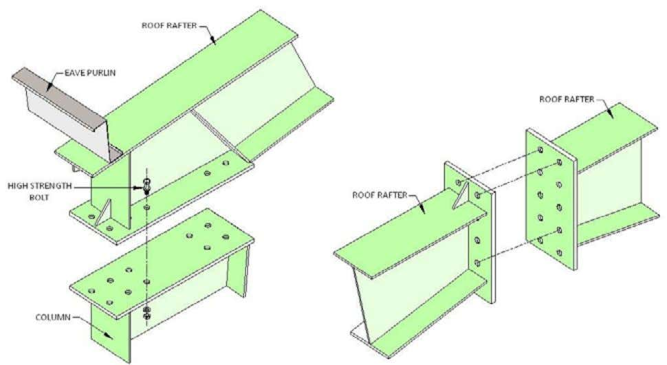 PEB STEEL FRAMING RIGID FRAME CONNECTION DETAILS HAUNCH CONNECTION ROOF RAFTER SPLICE (COLUMN TO