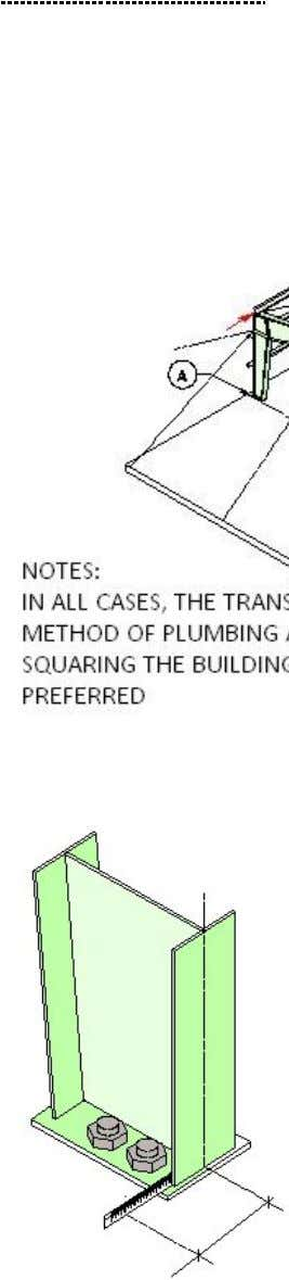 PEB STEEL FRAMING PLUMBING AND SQUARING STEP NO. 5 (Continued) SEQUENCE 1. Locate transit as shown