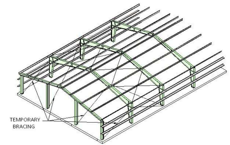 PEB STEEL FRAMING ERECTION PROCEDURE STEP NO. 6 SEQUENCE Proceed with the erection of the remaining