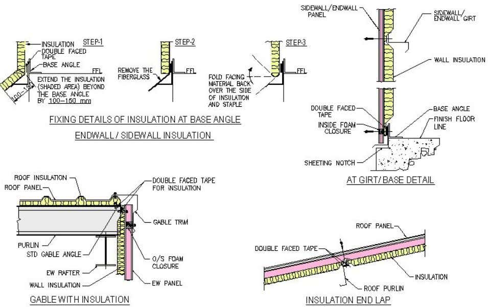 INSULATION INSTALLATION PROCEDURES Refer to your erection drawings for the roof insulation splice location, fix one
