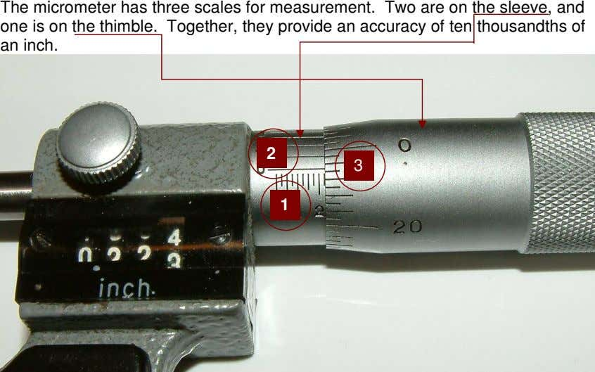 The micrometer has three scales for measurement. Two are on the sleeve, and one is