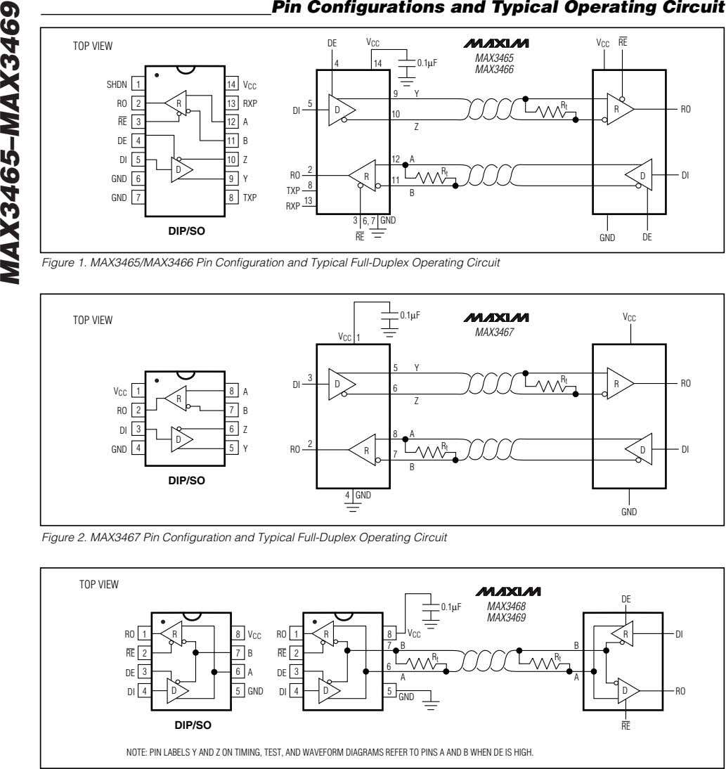 Pin Configurations and Typical Operating Circuit DE V V RE TOP VIEW CC CC MAX3465