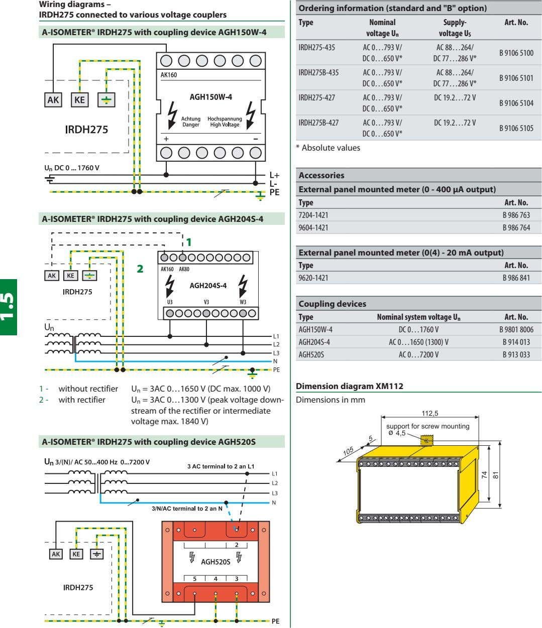 "Wiring diagrams – IRDH275 connected to various voltage couplers Ordering information (standard and ""B"" option)"
