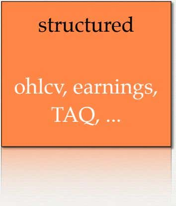 structured ohlcv, earnings, TAQ,