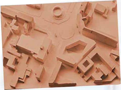 of a painted architecture model in the landscape formations The clay-modelled master model. The clay model