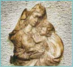 painted Madonna portrait Raw cast Artestone (56 011) Damaged and weathered model Moulding with Silcoform HV.