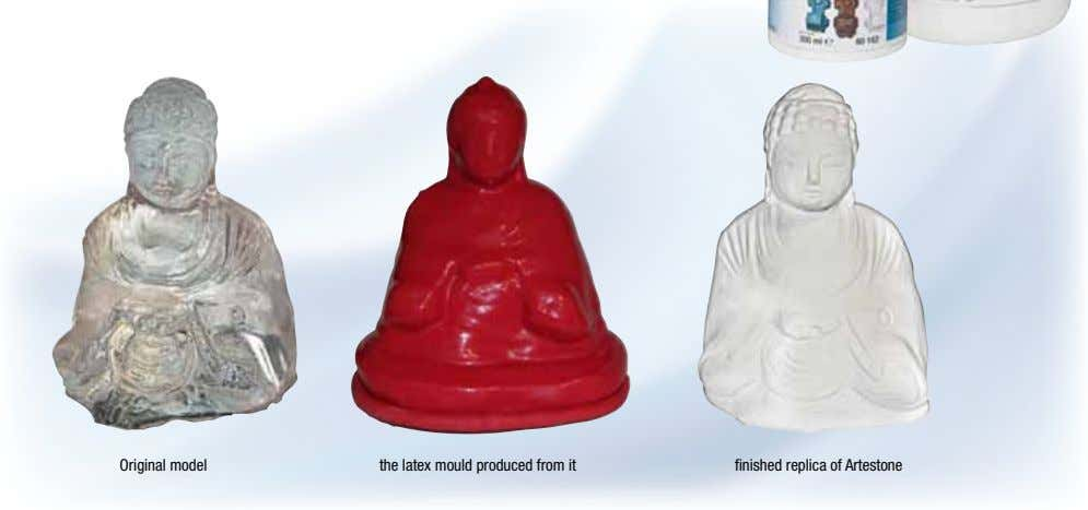 Original model the latex mould produced from it finished replica of Artestone