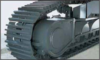 and durability when working on rocky ground or blasted rock. Sturdy guards shield the travel motors