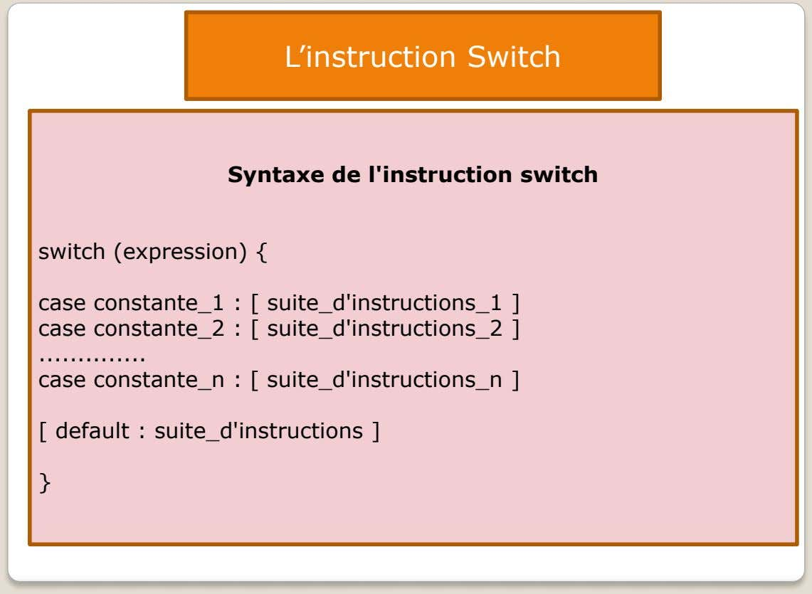 L'instruction Switch Syntaxe de l'instruction switch switch (expression) { case constante_1 : [