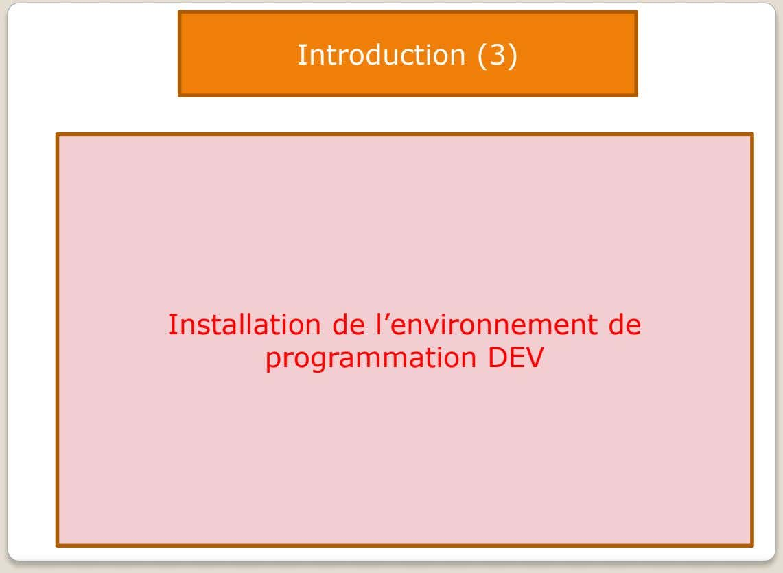 Introduction (3) Installation de l'environnement de programmation DEV
