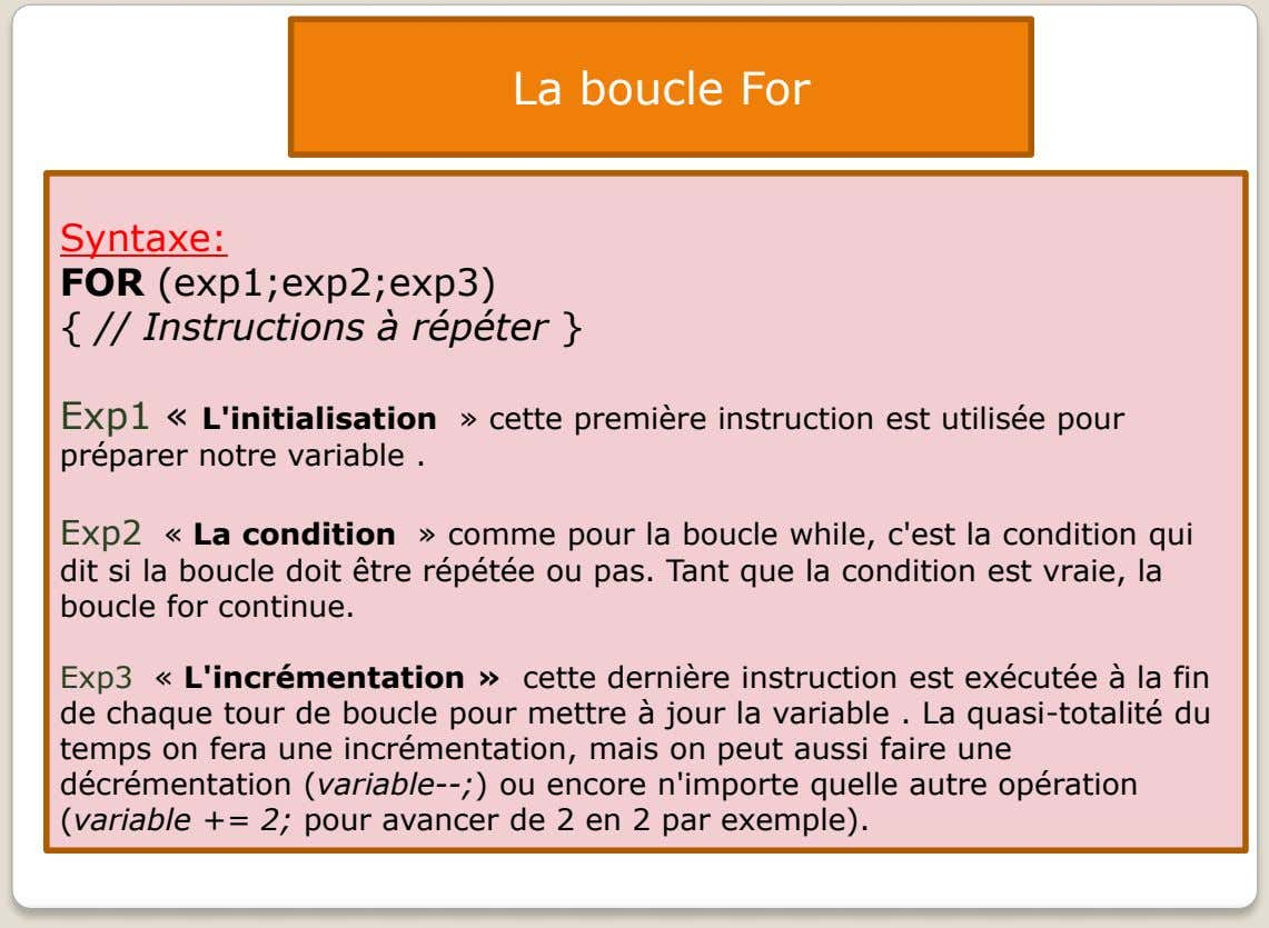 La boucle For Syntaxe: FOR (exp1;exp2;exp3) { // Instructions à répéter } Exp1 « L'initialisation