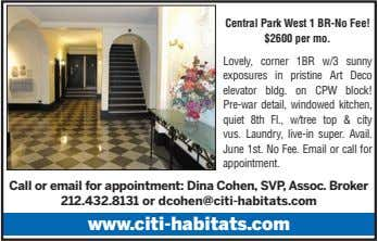 Central Park West 1 BR-No Fee! $2600 per mo. Lovely, corner 1BR w/3 sunny exposures