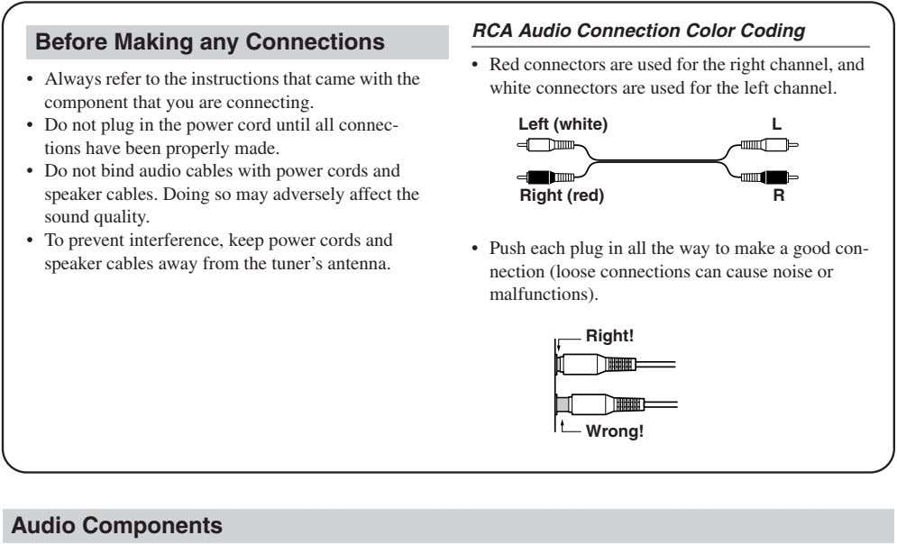 RCA Audio Connection Color Coding Before Making any Connections • Always refer to the instructions