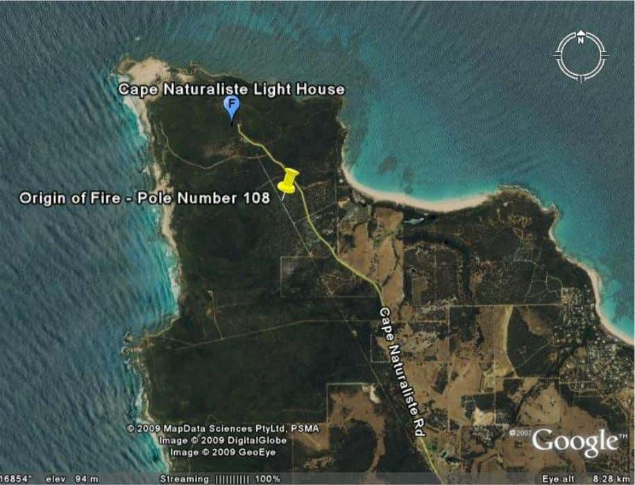 A: SATELLITE LOCATION IMAGE Showing location of the Origin of the Bush Fire : Image taken