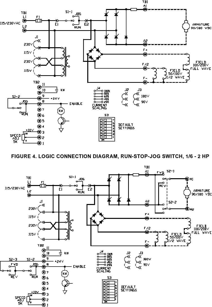 FIGURE 4. LOGIC CONNECTION DIAGRAM, RUN-STOP-JOG SWITCH, 1/6 - 2 HP