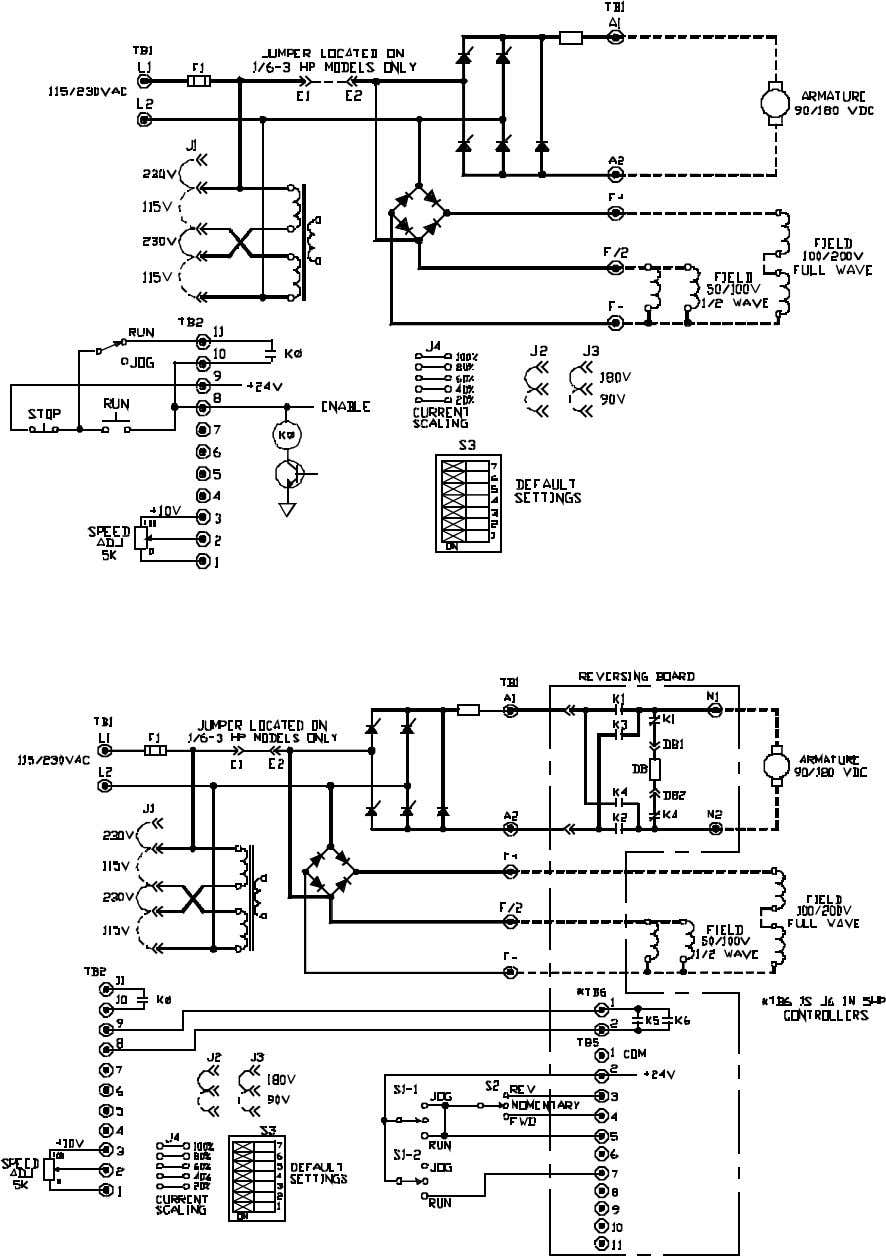 BOOK0795-F FIGURE 6. LOGIC CONNECTION DIAGRAM, RUN-STOP PUSHBUTTONS AND RUN-JOG SWITCH, 1/6 - 5 HP FIGURE