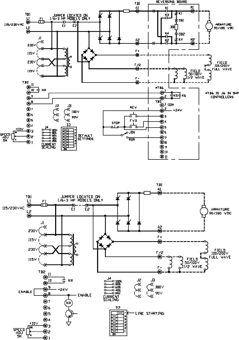 BOOK0795-F FIGURE 8. LOGIC CONNECTION DIAGRAM, OPTIONAL ARMATURE CONTACTOR REVERSING USING PUSHBUTTONS AND RUN-JOG SWITCH, 1/6