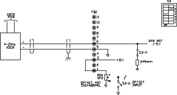 BOOK0795-F FIGURE 13. SIGNAL CONNECTION DIAGRAM, LINE STARTING WITHOUT A MOTOR SPEED POTENTIOMETER FIGURE 14. SIGNAL