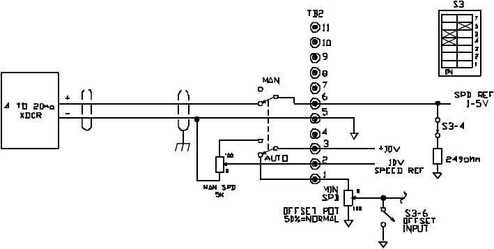 BOOK0795-F FIGURE 16. SIGNAL CONNECTION DIAGRAM, 4 - 20 mA TRANSDUCER WITH MANUAL/AUTO SWITCH * TRANSDUCER