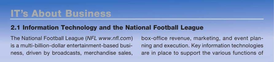 IT's About Business 2.1 Information Technology and the National Football League The National Football League
