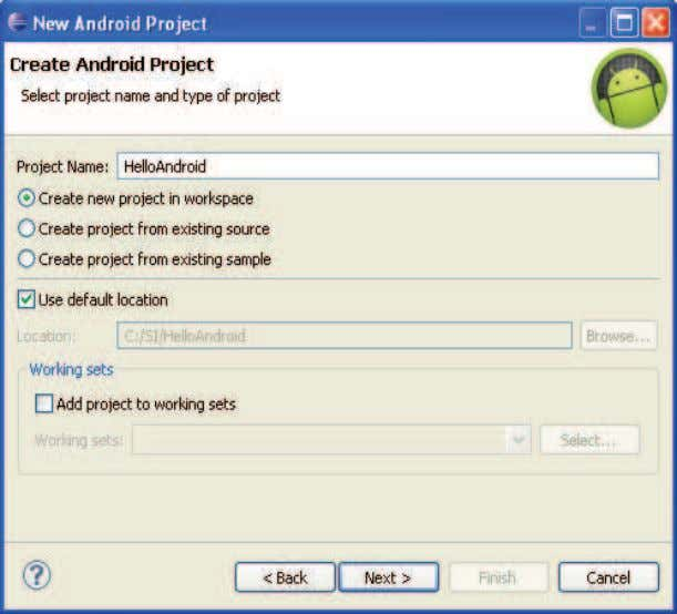 Figura 11. Create Android Project Figura 12. Application Info 12