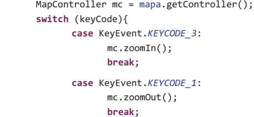 MapController mc = mapa .getController(); switch (keyCode){ case KeyEvent.KEYCODE_3: mc.zoomIn(); break ;