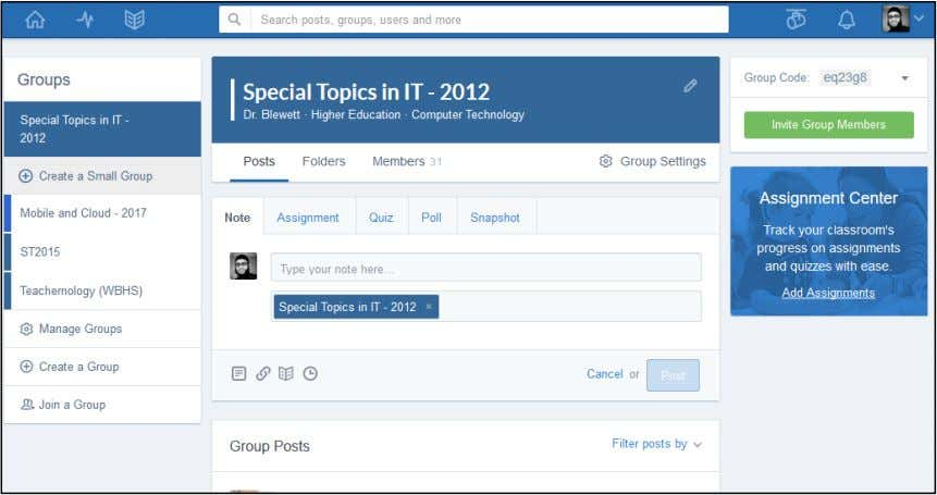 Figure 1-5: Edmodo course page (as at 18 June 2017) Source: www.edmodo.com In 2014, the researcher
