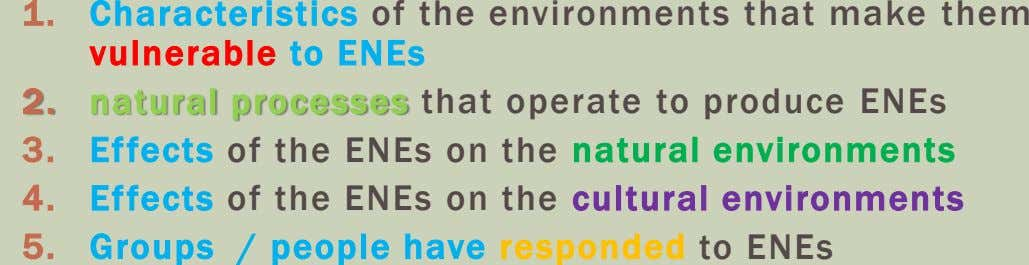Effects of the ENEs on the cultural environments Effects of the ENEs on the natural environments