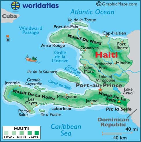 CULTURAL ENVIRONMENT Diagram: Haiti map showing; Political instability, Infrastructure, Preparation, Poverty, Education and Population Density /