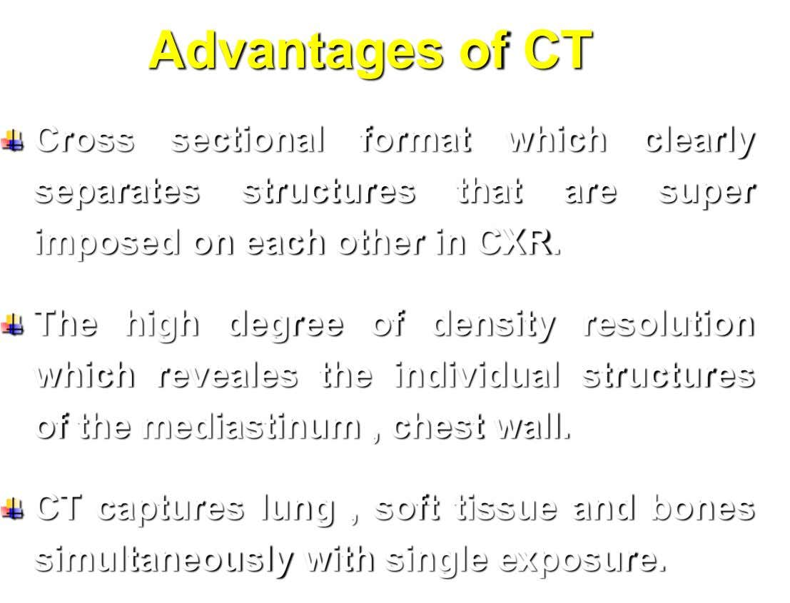 Advantages of CT Cross sectional format which clearly separates structures that are super imposed on each