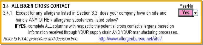 and Grocery Council SECTION 3.4 CROSS CONTACT ALLERGENS Those allergens that require mandatory declarations that may