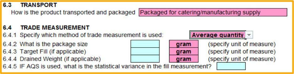 from gram, kg, mL or Litre – ! If AQS is used then specify the statistical