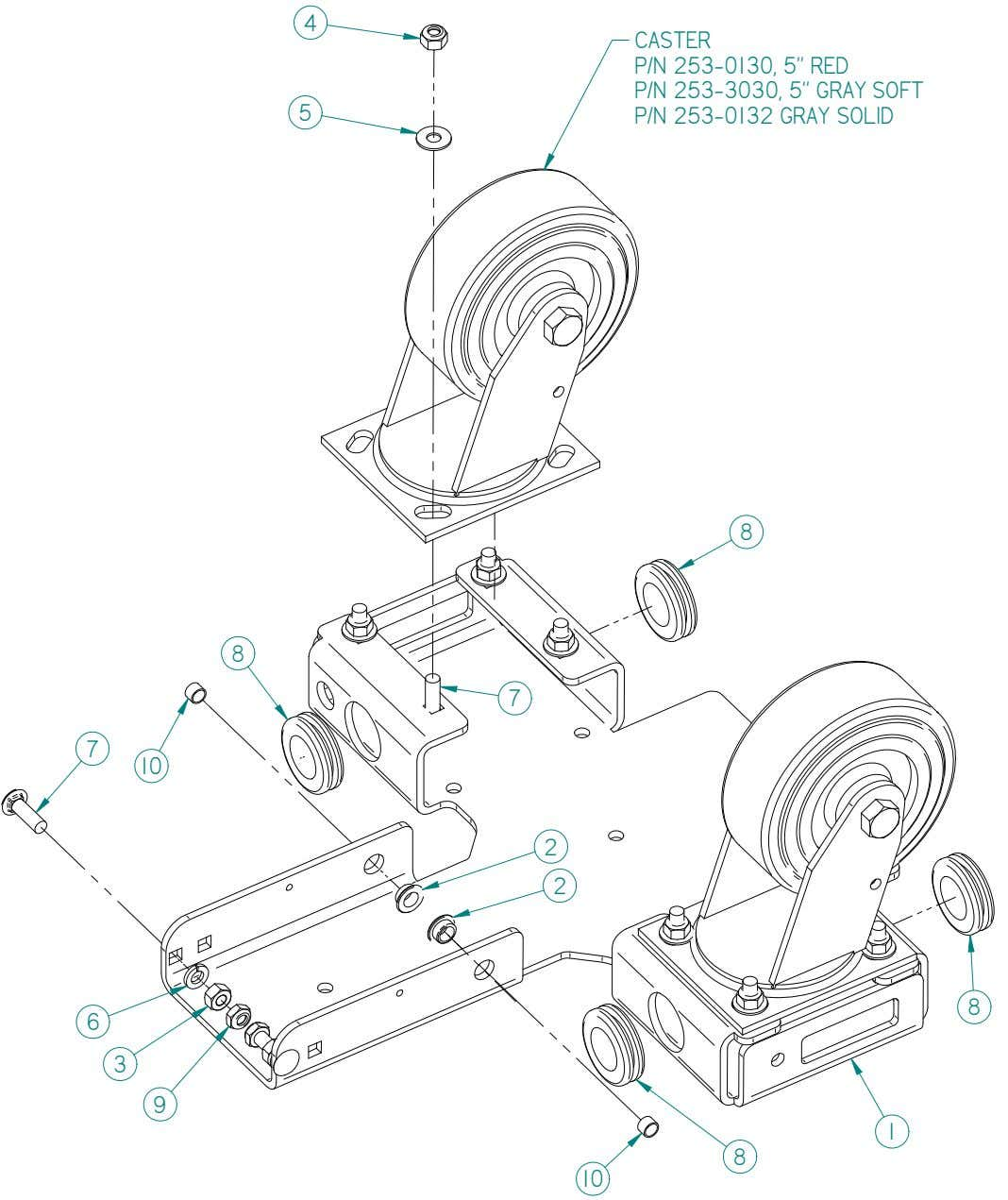 8 Caster Foot Assembly 8 Magnum Parts Manual V13.0315