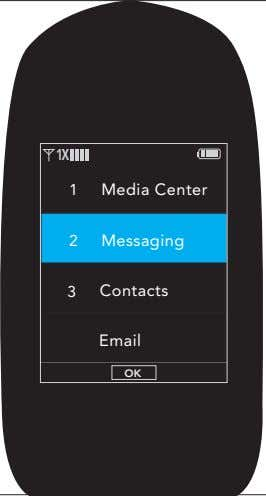 1 X 1 Media Center 2 Messaging 3 Contacts Email OK