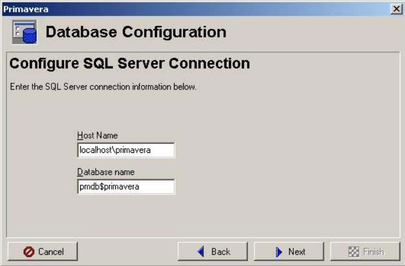 setup of the database the standard is localhost\primavera). Under database alias enter PMSDK. Then enter you
