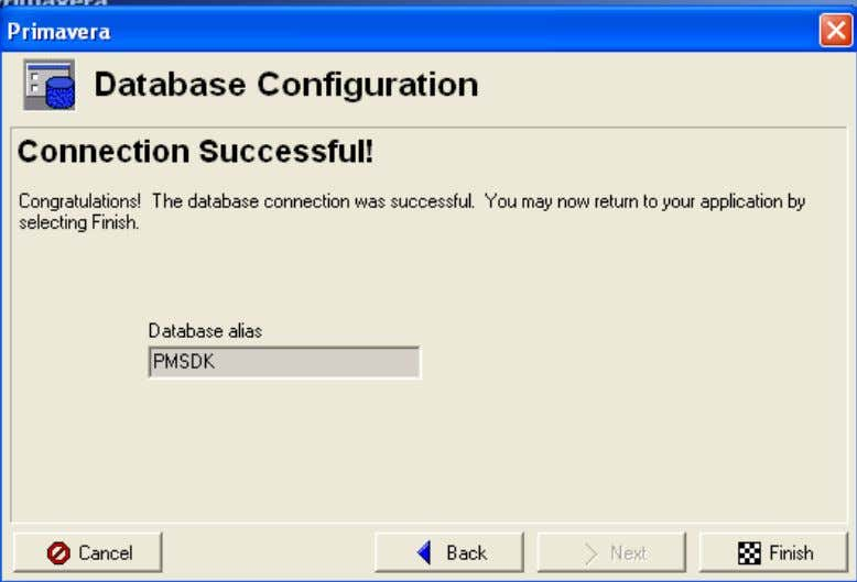 'Connection Succesful' screen should pop up. Finish the database configuration by pressing the Finish button. 12