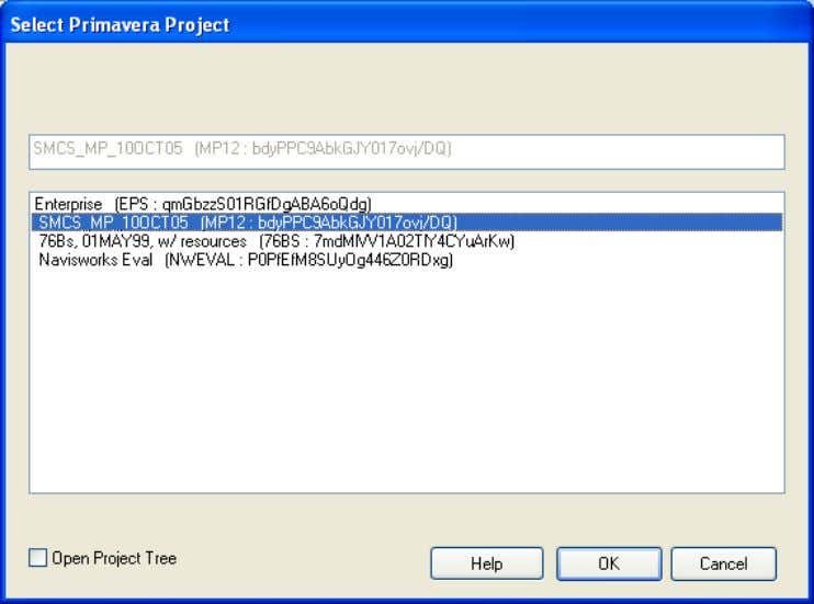 In the Select Primavera Project dialog select the project whose schedule you want to import into