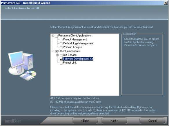 Select the Software Development Kit then click Next. Select the Program folder that you want or